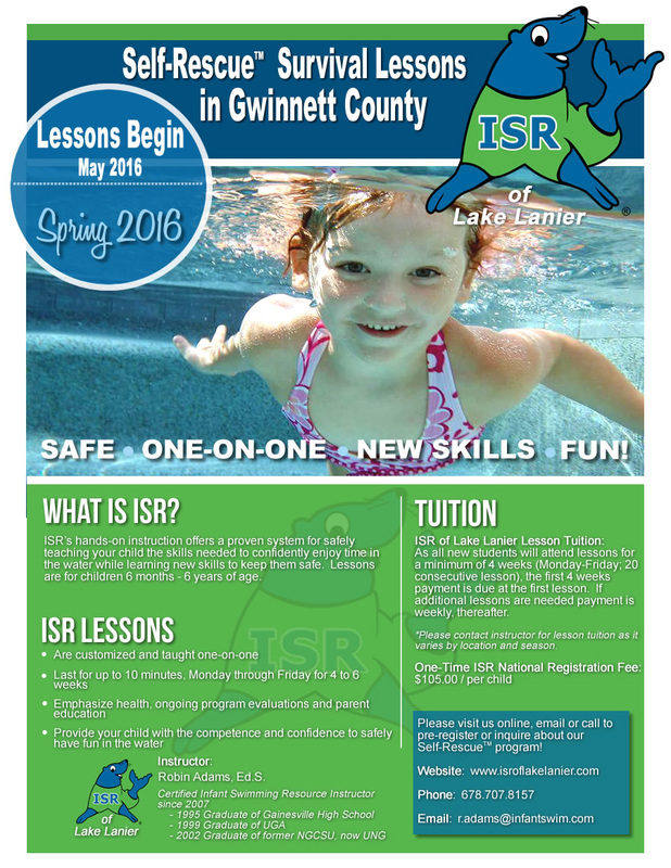 Infant swim, infant swimming resouce, infant swim lessons, ISR of Lake Lanier, Lake Lanier, Swimming lessons, Maintenance Lesson, Swim Lessons, Buford, Georgia, Lesson Scholarship, Live Like Jake Scholarship